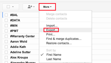 backup android contacts via gmail