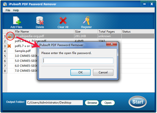 pdf password unlocker screen