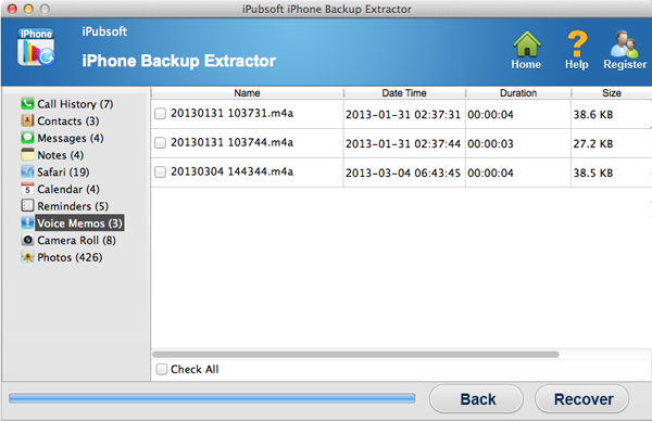 iPubsoft iPhone Backup Extractor for Mac - Extract and