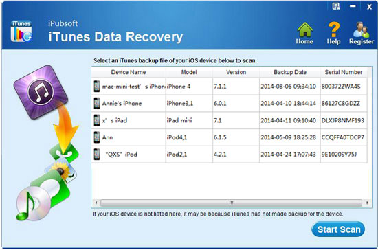 launch itunes data recovery