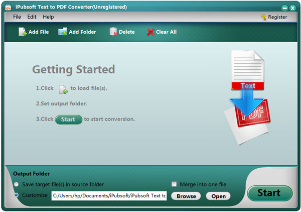text to pdf converter main screen