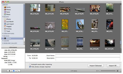 get photos from iphone to mac via iphoto
