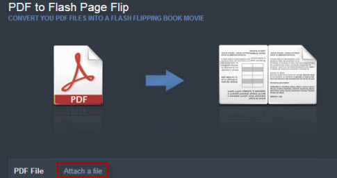 attach file to create pdf flash flipping book for free